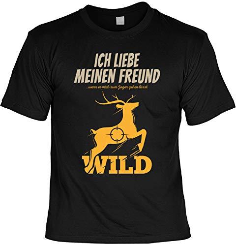 Lustiges Fun T-Shirt Jäger - Ich Liebe Meinen Freund Wenn er Mich zu Jagen Gehen lässt - Jäger Förster Geburtstag