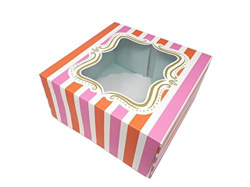 Meri Meri 45-0615 Cake-Box, 2 Stück, Large (25 x 25 x 13 cm), orange-pink-weiß gestreifte Dekoration, stabiles Papier, für Kuchen, Cupcakes und Cookies (Backen Streifen Noch)