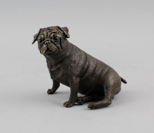 Chien bulldog assis-bronze