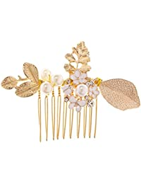 Joyería de Pelo Peina Horquillas de Nupcial Tiaras de Trébol Adorno Cabeza Perlas de Imitación Floral para Boda