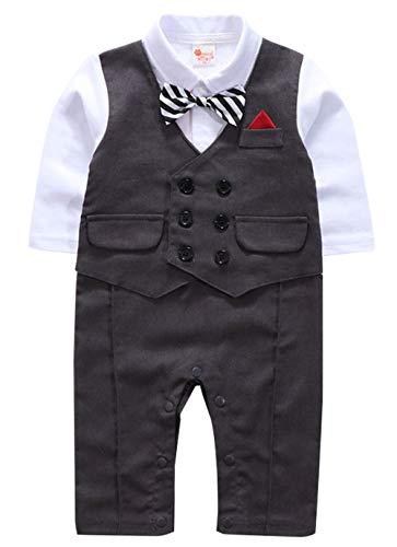 cool elves Baby Jungen Strampler Gentleman Smoking Anzug Kleinkind Langarm Fliege Hochzeit Taufgeschenk grau Größe 80 (Coole Für Anzüge Kinder)
