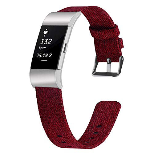 rotes Uhrenarmband für Fitbit Charge 2 Bands Canvas Ersatz Armband für Fitbit Charge 2 Damen Herren Canvas-band