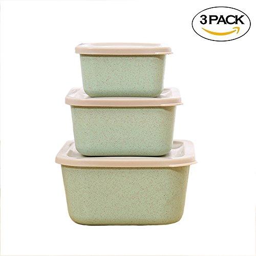 Farm Brennende (3-In-1 Mini Bento Box/für Kinder, Hatisan-Pro Weizen Stroh Lunch-Boxen, Früchte Lebensmittel Lagerung Behälter Mit Dichtem Deckel für Erwachsene und Kinder (Picknick Grün))