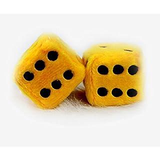 Designerbox Ein Paar Aufhängen Plüschwürfel Fuzzy Plüsch Würfel mit Punkten für Auto innen Ornament Dekoration 7,5CM (Gelb)
