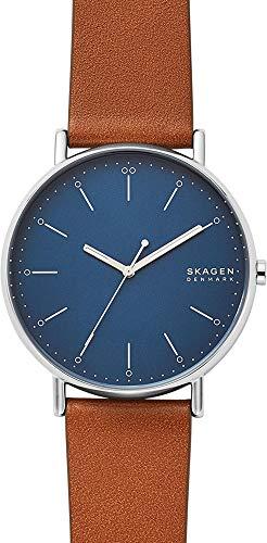 Skagen Hommes Analogique Quartz Montre avec Bracelet en Cuir véritable SKW6551