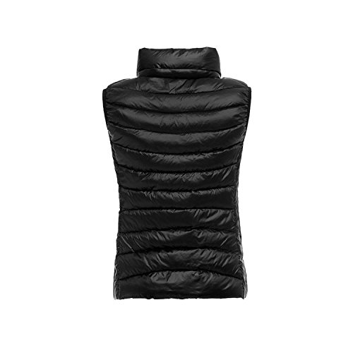 WANNEW Donna Autunno e Inverno Outdoor Ultralight Light Weight Packable Piuma Giù Gilet Outwear Cappotto Nero