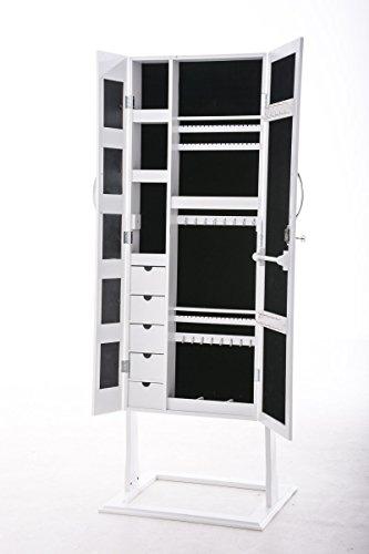 CLP Schmuckschrank Standspiegel BONITA, Bilderrahmen integriert, viele Steckplätze + Haken für Schmuck & Accessoires Weiß - 3