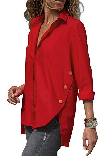 ZC&GF Damen Bluse Elegant Langarm Oberteile Einfarbig V-Ausschnitt Hemdbluse Asymmetrisch T-Shirt Top (Rot, XXL)