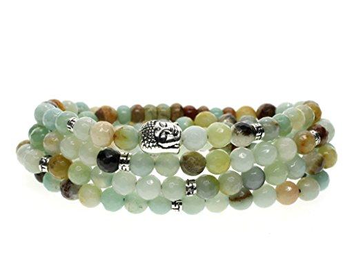 Coai bracciale collana da uomo e da donna con 108 perle mala in amazzonite, bracciale buddhista da preghiera con amuleto testa del buddha