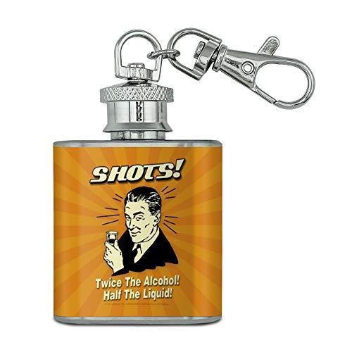 Photos deux fois plus de Alcool moitié liquide Funny Humour en acier inoxydable 28,3 gram Mini Bouteille Porte-clés