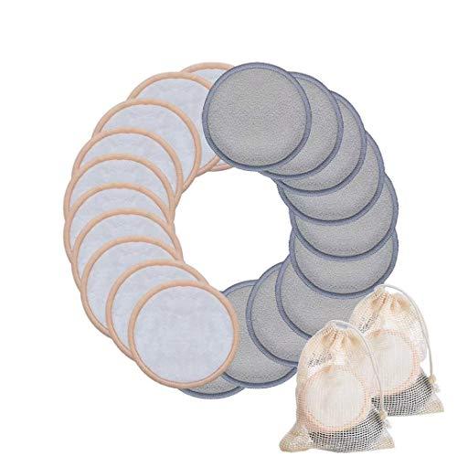 Waschbare Abschminkpads| 20 Stück Wattepads Wiederverwendbar aus Bambuskohle und Bambusfasern Superweich Perfekt zum Reinigen von Gesicht und Augen| Für alle Hauttypen| 2 Wäschenetz