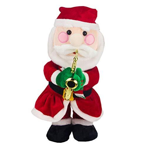 Bestoyard babbo natale musicale con sassofono che canta babbo natale figura figurina a pile