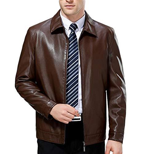 Lederjacke Frühling und Herbst Slim Jacket Jacke Trendy Jugend Lederjacke (Farbe : Weinrot, größe : XL) ()