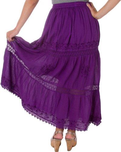 Sakkas Jupe Coton Taille Haute / Maxi / Longue Brodée Solide Gitane / Bohémienne Violet