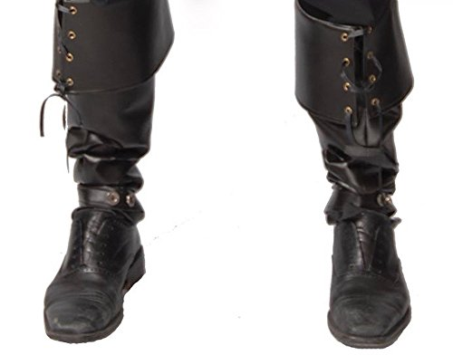 Herren Stiefel-Stulpen in Leder-Optik GUI Boot Cover für Piraten Steampunk (Piraten Herren Stiefel)