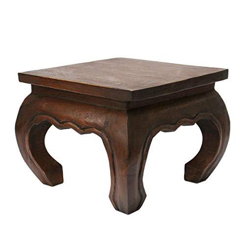 Oriental Galerie Opiumtisch Holzhocker Nachttisch Schemel 25 x 25cm Massiv Beistelltisch Hocker Holz Tisch Wohnzimmer Mahagoni