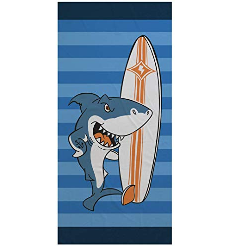 Cartoon Panda Mikrofaser Badetuch 150x75cm Rechteckiger Tier Strandtuch Rosa Blaue Streifen Sport Handtuch Schwimmen Tauchen Surfen Reisen Yoga Picknick Decke (Hai Surfen) -