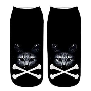 ☺Knöchelsocken Weihnachten Socken Lustige Sneaker Söckchen Unisex Sportsocken Baumwoll 3D Katze Gedruckt Atmungsaktiv Kurzsocken Boots Schuhe für Herren & Damen & Mädchen & Jungen 1 Paar
