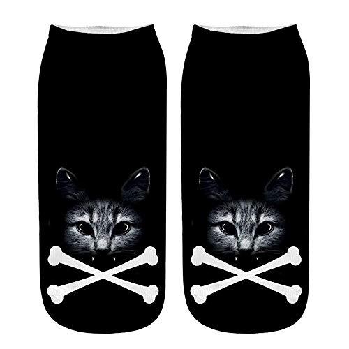 cinnamou Unisex kurze Socken 3D Katze gedruckt Fußkettchen Socken Beliebte lustige Casual Socken Weihnachten -