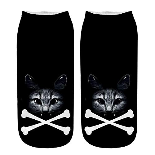 (BHYDRY Damen Mädchen Cartoon Süße Katze Socken Sport Strümpfe Füßlinge Bunt Motiv(A,Mehrfarbig))
