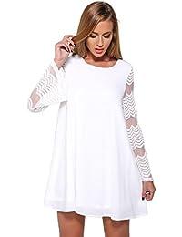 Chemise en Mousseline de Soie Haut Dentelle Femme Manches Longue Tunique Lâce Mini Robe Elégante T-Shirt Tops Blouse Manches Trompette - Landove