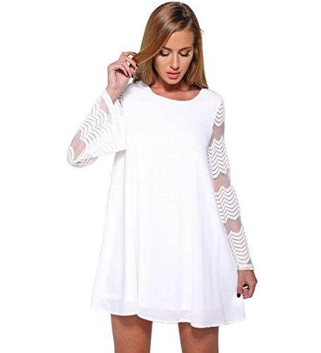 Landove Chemise en Mousseline de Soie Haut Dentelle Femme Manches Longue Tunique Lâce Mini Robe Elégante T-Shirt Tops Blouse Manches Trom