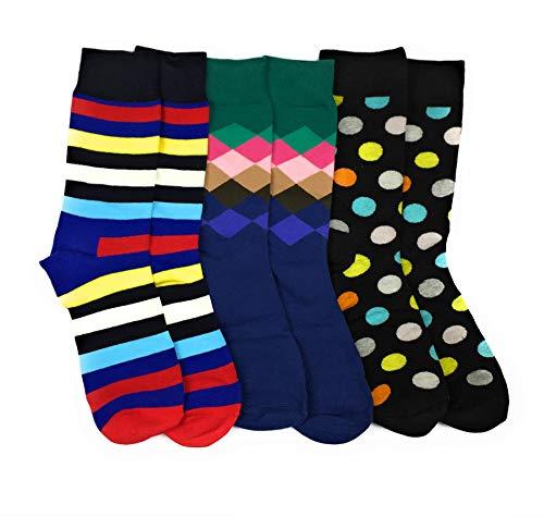 Farbige Socken-Mischung (bunt) aus Baumwolle im 3er-Set für Herren (41-44) | Statt schwarze Anzugsocken lieber coole Muster: Ringelsocken, Punkte & Rauten | Originelles Geschenk für Männer mit Stil