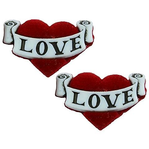 TFB - VELVET TATTOO LOVE HEART STUD EARRINGS