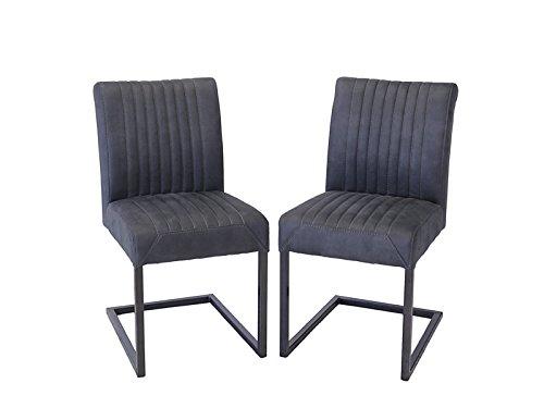 Antike Fundgrube 2 Stühle Lehnstühle Industrie-Style Metallgestell Leder-Optik anthrazit (6681) -
