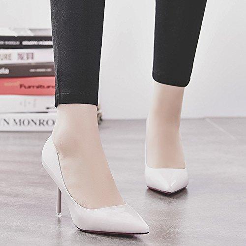 HooH Femmes Stiletto Escarpins Pointed Toe Mariage Demoiselle d'honneur Escarpins Slip On Gris clair