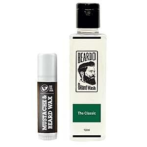 BEARDO Mustache & Beard Wax Stick, (4gms) and BEARDO Beard Wash (100 ml),The Classic combo.