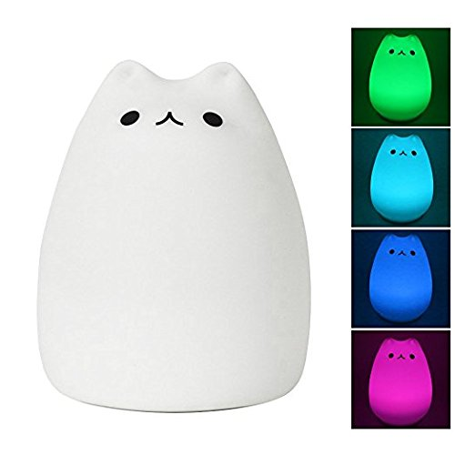 LED Katzen Nachtlicht für Baby Kinder, nette mehrfarbige Silikon weiche Miezekatze Kinderzimmer Lampe für Kinder Kleinkind Jungen Mädchen, Hahn Steuerung, warmes Weiß und 7 Farben Atmung -