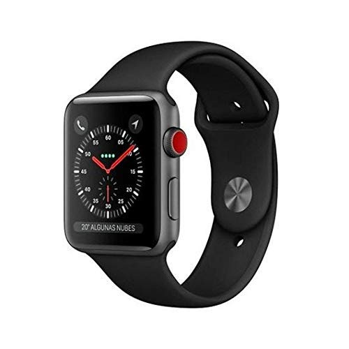 Apple Watch Series 3 (GPS + Cellular) con caja de 38 mm de aluminio en gris espacial y correa deportiva negra