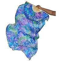 Danza Del Vientre Real Fan De Seda Costillas De Bambú Rendimiento Hecho A Mano Entrenamiento Profesional Colores Vibrantes Elásticos Azul 1.8 M Largo L + R,L+R(1.8M)