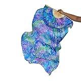 SHENCHI Danza del Vientre Real Fan De Seda Costillas De Bambú Rendimiento Hecho A Mano Entrenamiento Profesional Colores Vibrantes Elásticos Azul 1.8 M Largo L + R,L+R(1.8M)