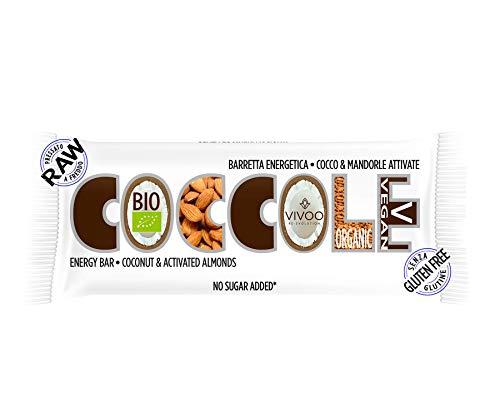 Vivoo re-evolution   coccole barretta energetica biologica con cocco & mandorle attivate.  biologico, raw   senza zuccheri aggiunti   no: glutine, latticini, soia, ogm   1 barretta da 35g