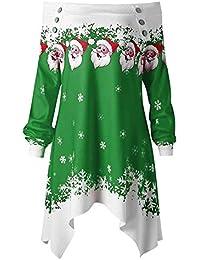 ¡Gran promoción!★Rovinci★ Blusas de Las Mujeres Feliz Navidad Fuera del Hombro Puntos de la Moda Imprimir Tops Sudadera Pullover Camisas
