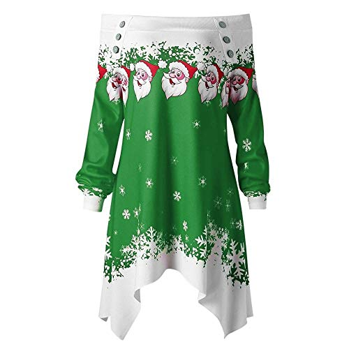 MORCHAN Cadeaux de noël Noël Femmes Dots Zipper Imprimer Hauts Sweat à Capuche Pull Chemisier T-Shirt(Medium,Vert)
