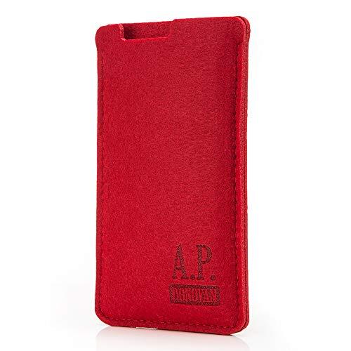 A.P. Donovan - Handytasche Schutzhülle - Filztasche Filzhülle - Handysocke aus Filz - Handy Hülle Tasche aus Stoff Sleeve (iPhone 7, Rot)