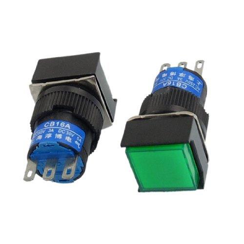 DealMux a12120400ux0656 NO NC-Zeichen-Platz Momentary Push Button Switch, 2 Stück, AC 250 V, 3 A, DC 30V, 5 Amp, Grün (Nc-zeichen)