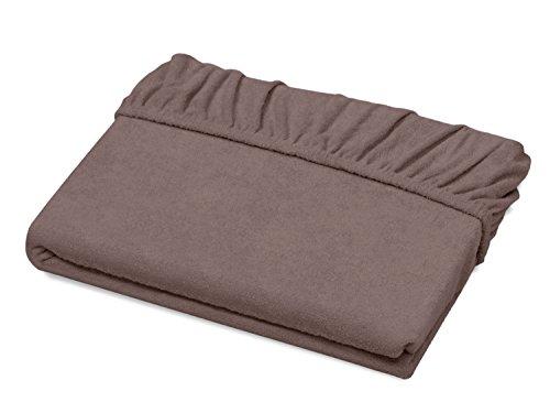 Schlafgut Spannbetttuch Frottee Stretch aus 75% Baumwolle & 25% Polyester - in 4 Größen & 26 Farben, ca. 140-160 x 200 cm, Kastanie