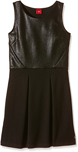 s.Oliver Mädchen Kleid mit Fake - Leder - Details, Einfarbig, Gr. 176, Schwarz (black 9999)