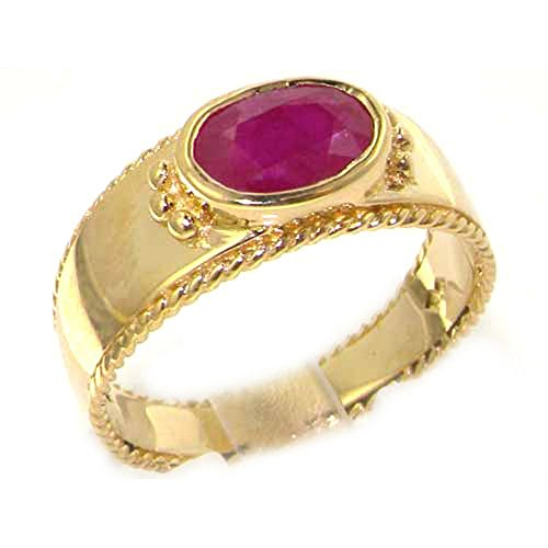 Luxury 9ct Yellow Gold Ruby English Solitaire Wedding Band Ring with Milgrain Edging