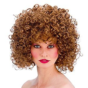 Ladies 80's Brown Disco Perm Fancy Dress