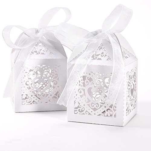 50pcs Laser Cut Wedding Hollow Love Heart Favor Candy Gifts Boxes Ivory White