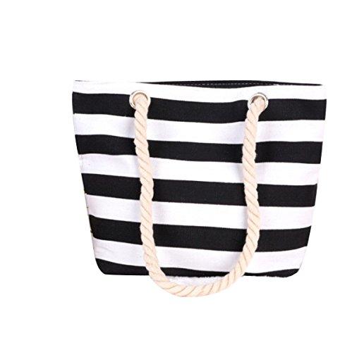 Delle Donne Della Tela Di Canapa Banda Viaggi Mini Casual Stampa Beach Packet Black