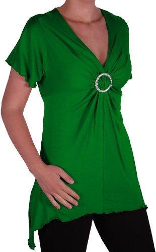 Eye Catch Plus - Solange Frauen Asymmetrische Stretch Kurzarm Diamante Damen mit V-Ausschnitt Top Jade Grun Gr. 54/56 -