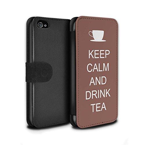 Stuff4 Coque/Etui/Housse Cuir PU Case/Cover pour Apple iPhone 4/4S / Faire du Shopping/Bleu Design / Reste Calme Collection Boire du Thé/Brun