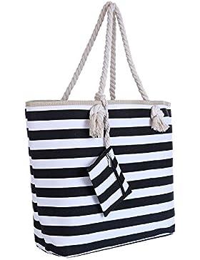 Große Strandtasche mit Reißverschluss 58 x 38 x 18 cm maritime Streifen Shopper Schultertasche Beach Bag