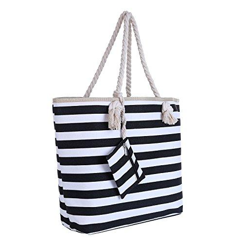 Verloren Weißes Hemd (Große Strandtasche mit Reißverschluss 58 x 38 x 18 cm Maritime Streifen schwarz weiß Shopper Schultertasche Beach Bag)